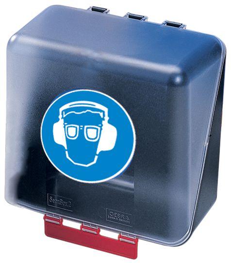 """Opbergdoos voor PBM met pictogram """"Veiligheidsbril en geluiddempende oorkap verplicht"""""""