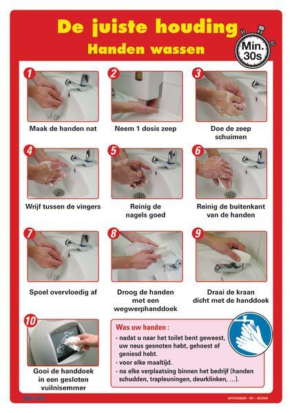 Posters voor hygiëne op het werk - Handen wassen