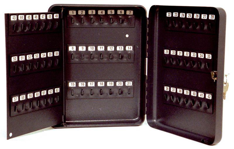Antraciet sleutelkast met vaste haakjes en combinatieslot