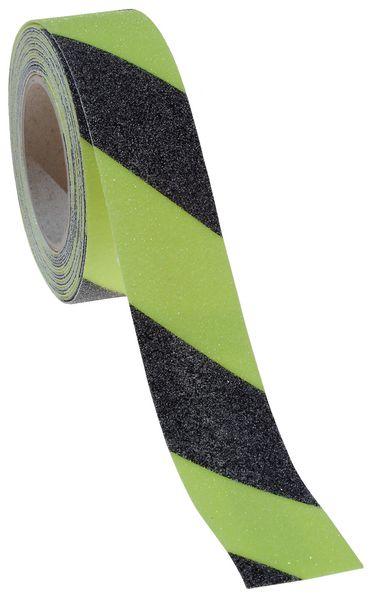 Fotoluminescente, geel/zwarte antislip tape op rol