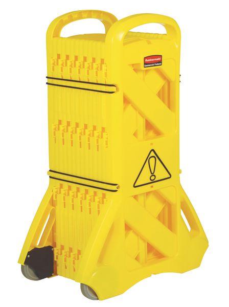 Mobiel opvouwbaar veiligheidshek van geel kunststof