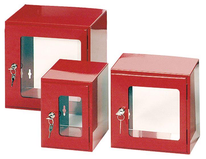 Rood kastje van staal met licht opaak venster