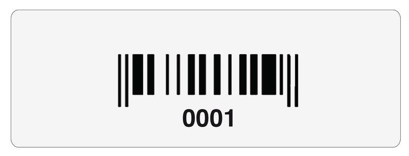 Stickers met barcode en nummering, van fragmenteerbaar vinyl
