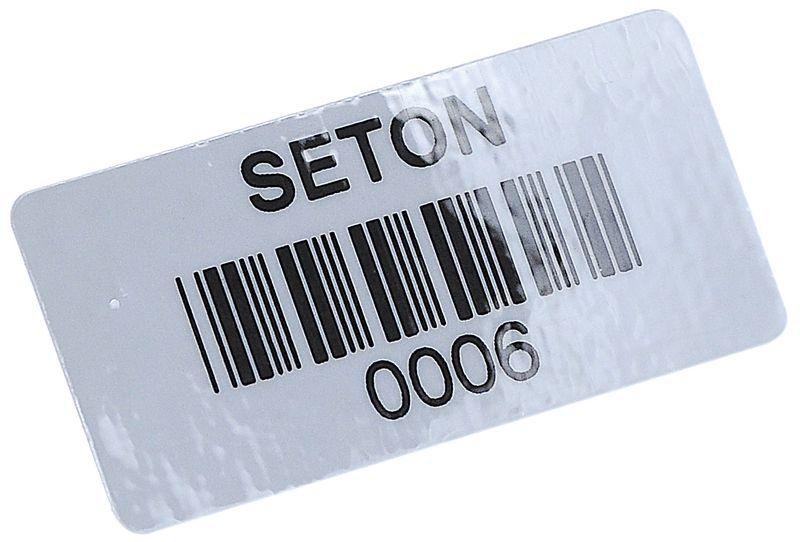 Personaliseerbare eigendomsetiketten met barcode van polypropyleen, niet-permanente kleeflaag