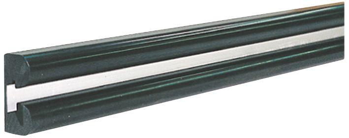 B-vormige zwarte stootrand voor muur met bevestigingsband van aluminium