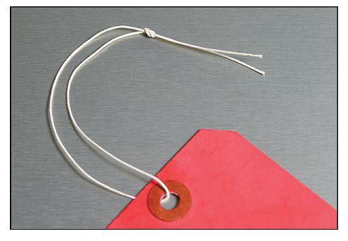 Katoenen, ijzeren of kunststof bevestigingskoordjes voor hanglabels