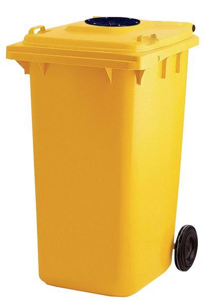 Gele afvalcontainer op wielen voor flessen