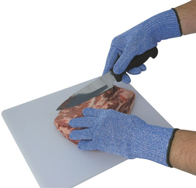 Blauwe snijbestendige handschoenen voor de voedingssector