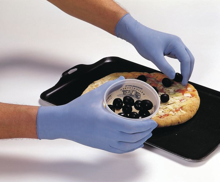Blauwe, gepoederde latex handschoenen voor de voedingssector