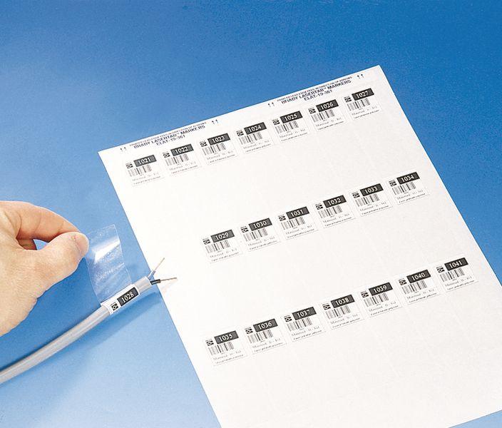 Kabellabels van polyester, te bedrukken met laserprinter
