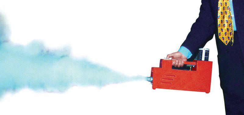 Draagbare rookmachine voor brandoefeningen