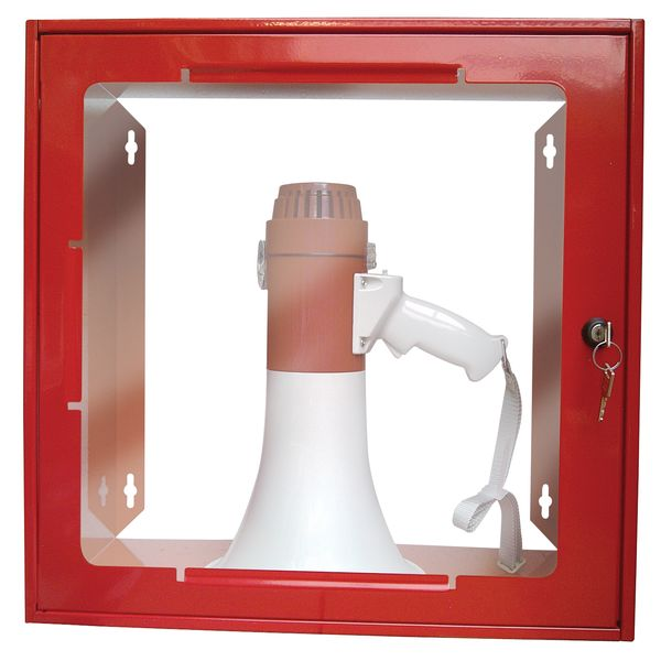 Rood kastje van staal met opaak venster, voor megafoon