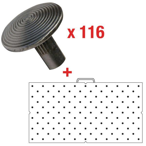 Kit 116 podotactiele noppen om te verzegelen, met sjabloon