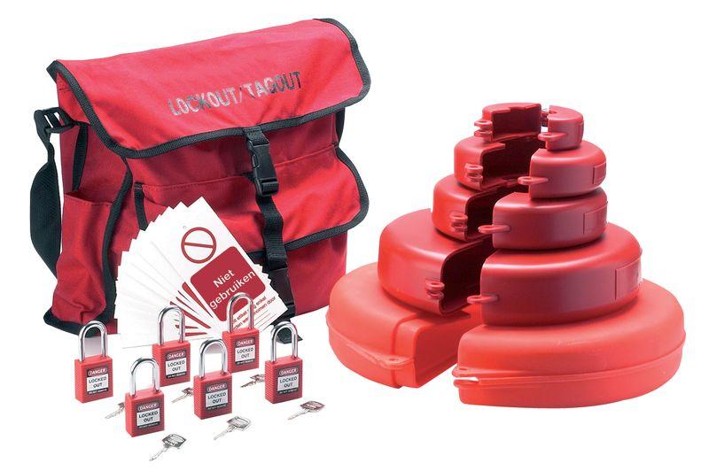 Lockout kit met opbergtas voor handwielafsluiters