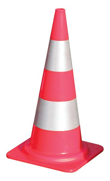 Fluo-oranje verkeerskegels HI met reflecterende stroken