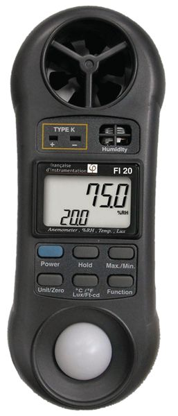 Luxmeter, thermometer, hygrometer en anemometer