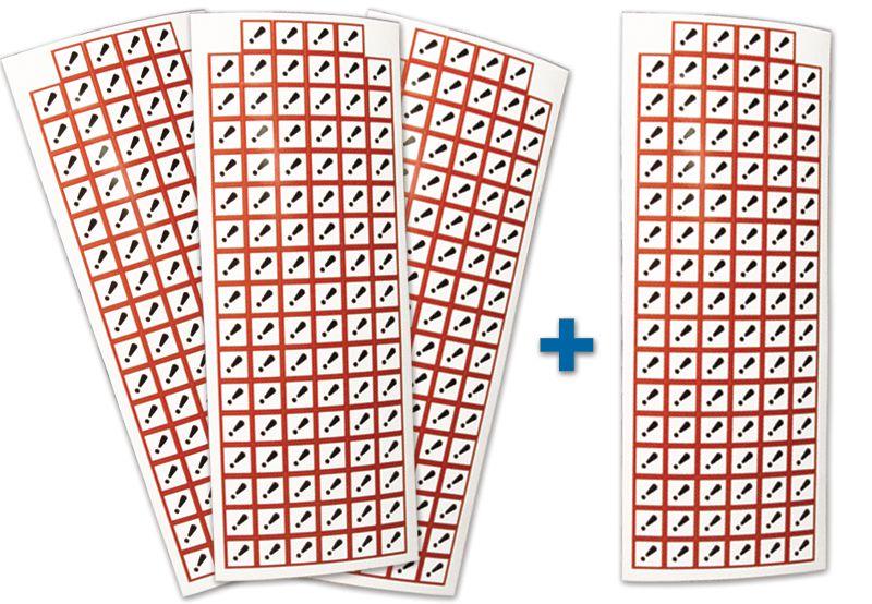 """Set stickers met CLP-pictogrammen - 3+1 vellen """"Acute toxiciteit categorie 4"""" - GHS07"""