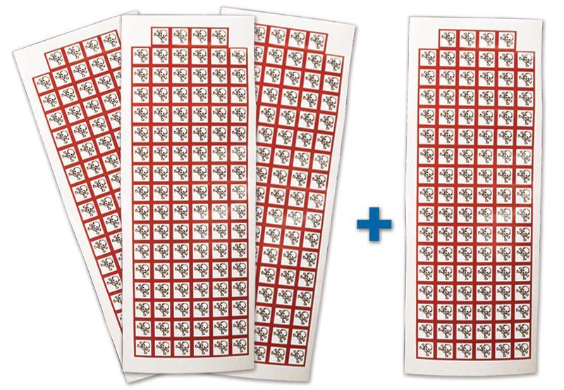 """Set stickers met CLP-pictogrammen - 3 + 1 vellen """"Acute toxiciteit categorie 1, 2, 3"""" - GHS06"""