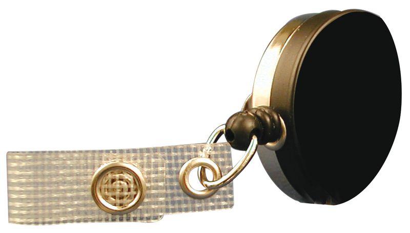 Metalen badgehouder met oprolmechanisme en riemklem