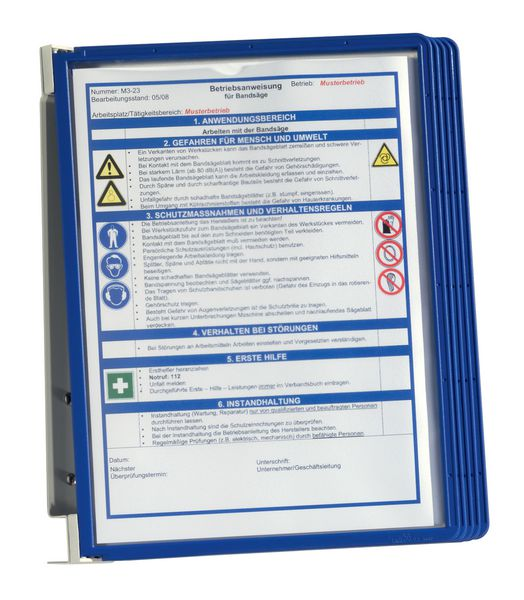 Metalen muursteun voor gekleurde documenthouders met A4-hoesjes
