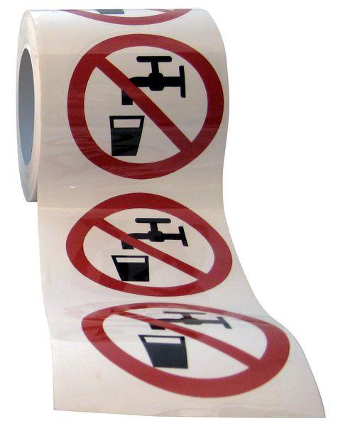 "Verbodsstickers op rol ""Geen drinkwater"""