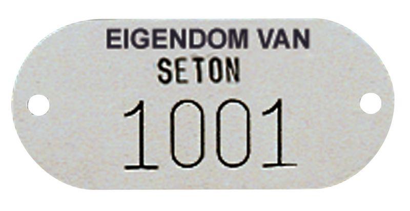 Personaliseerbare plaatjes met tekst en nummering, van messing, aluminium of inox