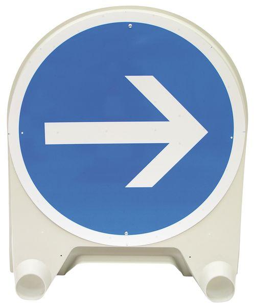 """Tijdelijk verkeersbord van polypropyleen """"Verplicht naar rechts afslaan voor het bord"""""""