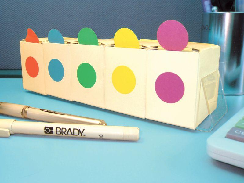 Houder met 5 verdeeldozen met gekleurde, ronde stickers