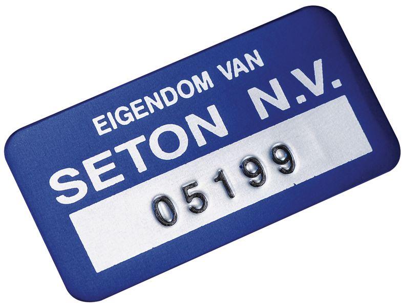 Personaliseerbare eigendomsetiketten SetonGuard® van geanodiseerd aluminium