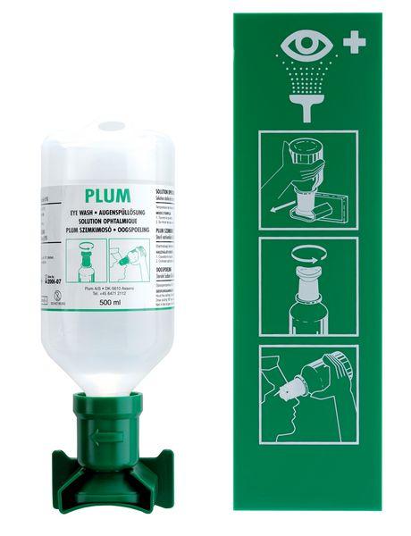 Oogspoelstation: muurhouder + 1 of 2 x 500 ml zoutoplossing