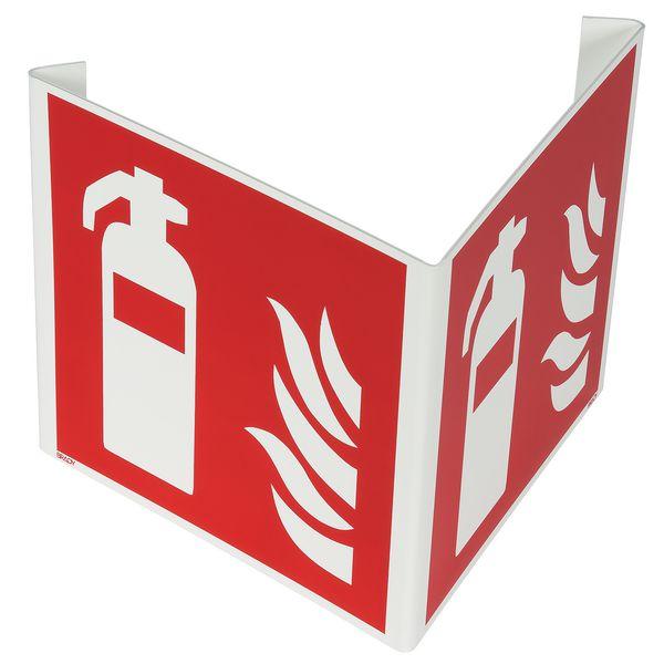 """Haakse of wigvormige brandveiligheidsborden ISO 7010 """"Brandblusser"""" - F001"""