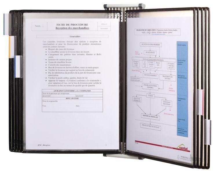 Antimicrobiële documentdisplay voor muurbevestiging met 10 documenthoezen