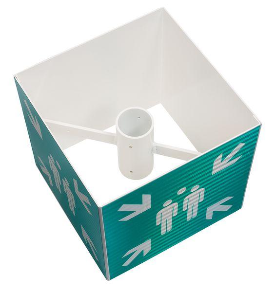 Verzamelplaatsborden ISO 7010, kubus-, driehoek- of cilindervormig