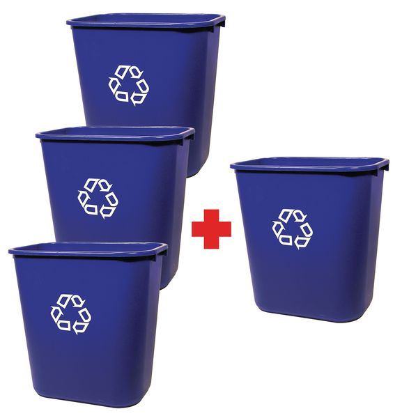 Lot van 3 sorteer afvalbakken + 1 gratis