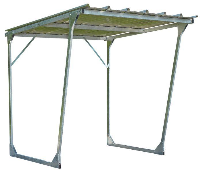 Fiets- en motoroverkapping in gegalvaniseerd staal met hellend dak