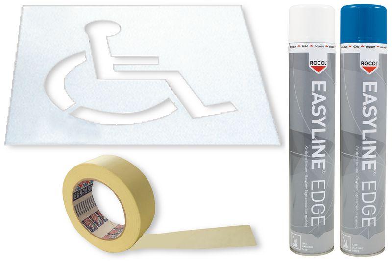"""Kit met sjabloon en markeringsverf """"Personen met een handicap"""""""