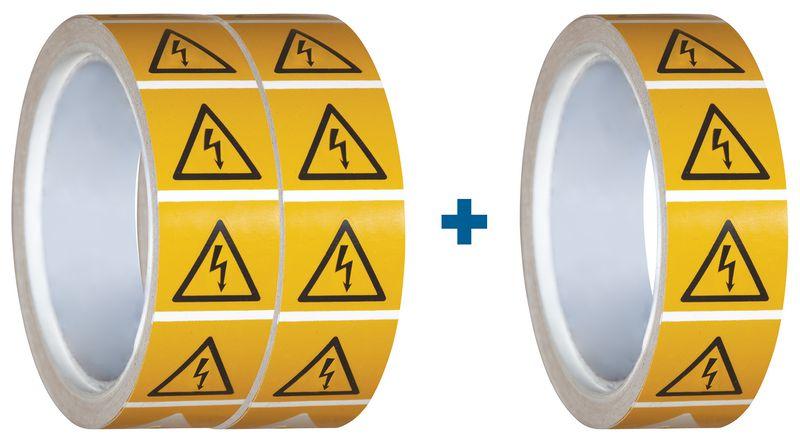 """Set van 3 rollen waarschuwingsstickers ISO 7010 """"Gevaarlijke elektrische spanning"""" - W012 (2+1 gratis)"""