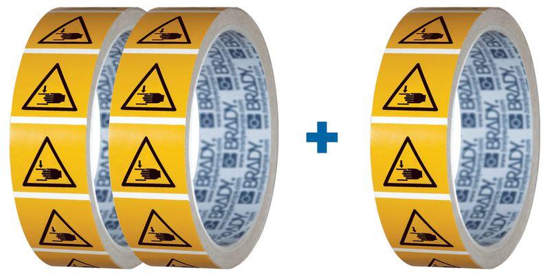 """Set van 3 rollen waarschuwingsstickers ISO 7010 """"Pletgevaar handen"""" - W024 (2+1 gratis)"""