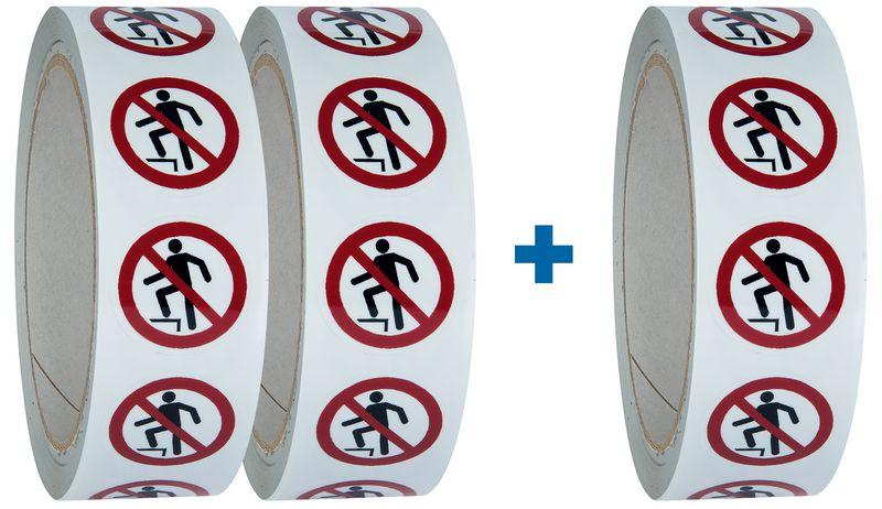 """Set van 3 rollen verbodsstickers ISO 7010 """"Verboden het oppervlak te betreden"""" - P019 (2+1 gratis)"""