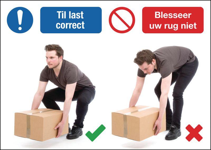 Veiligheidsposters Do en Don't - Til lasten correct/ Blesseer uw rug niet