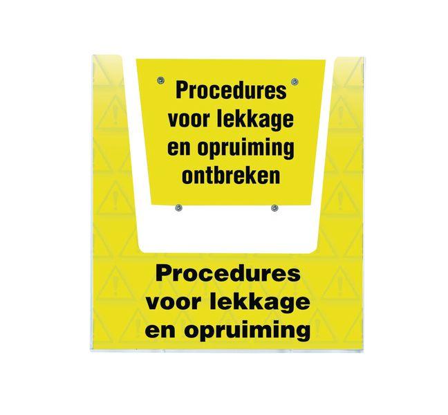 Houder procedures lekkage met tekst