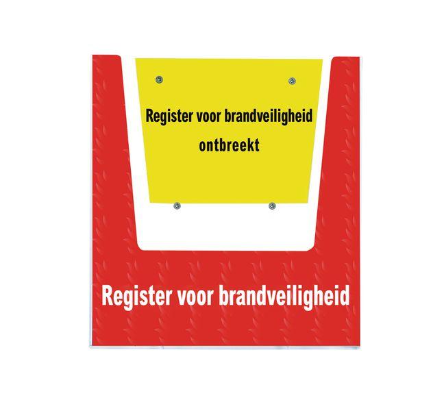 Houder register brandveiligheid met tekst