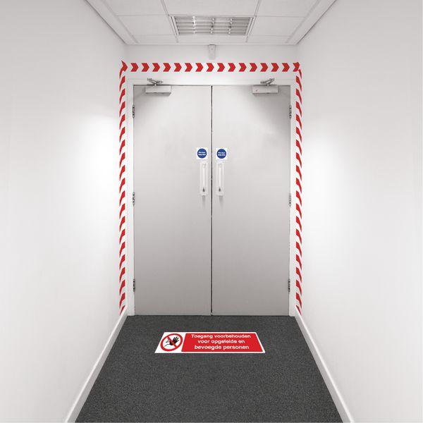 Kit visuele barrière met muurtape en vloermarkering - Toegang voorbehouden