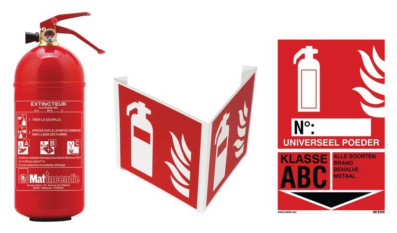 Kit poederblusser, brandklasse A, B en C met signalering