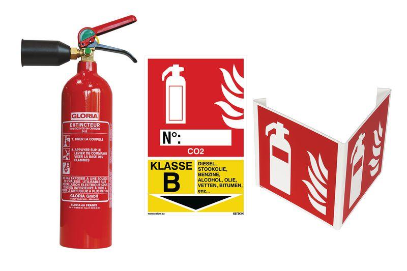 Kit CO<sub>2</sub>-blusser, brandklasse B met signalering