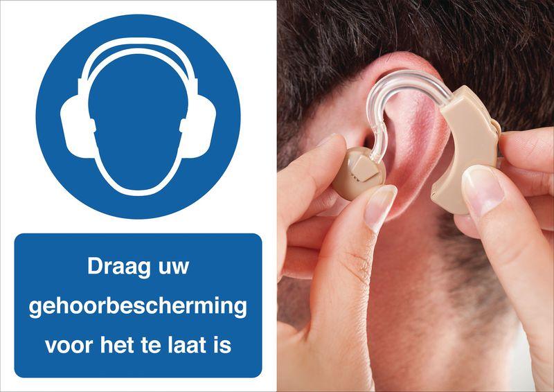 Veiligheidsposter gevolgen - Draag uw gehoorbescherming - M003