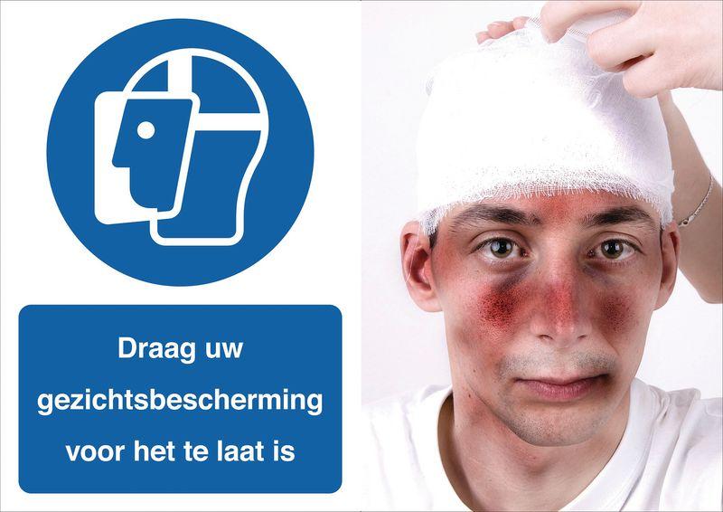 Veiligheidsposter gevolgen - Draag uw gezichtsbescherming - M013