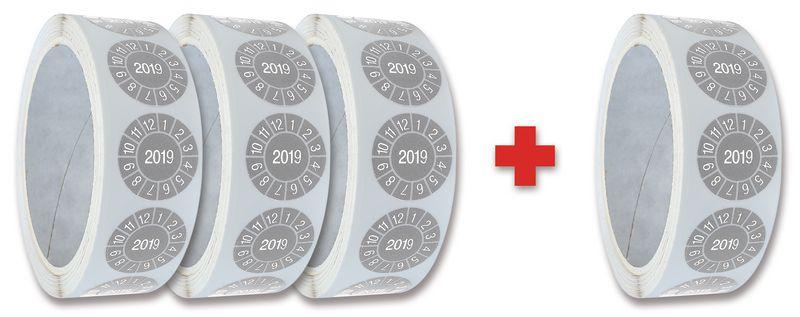 Promopack 3 + 1 rollen keuringsstickers met enkel jaartal
