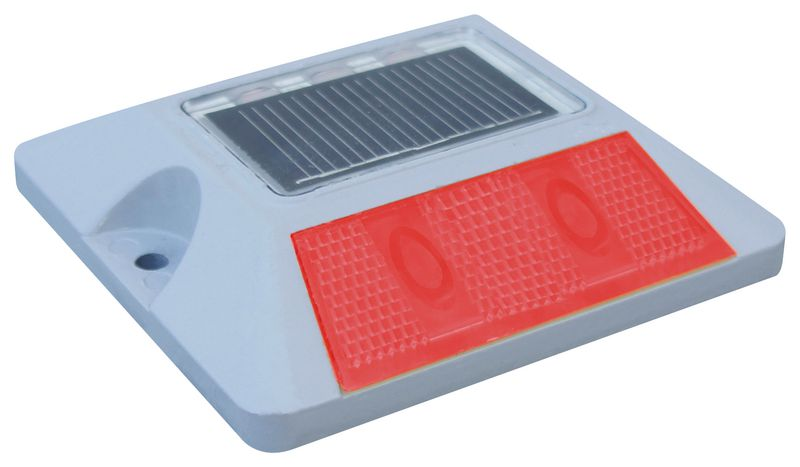 Wegdekreflector op zonne-energie met leds