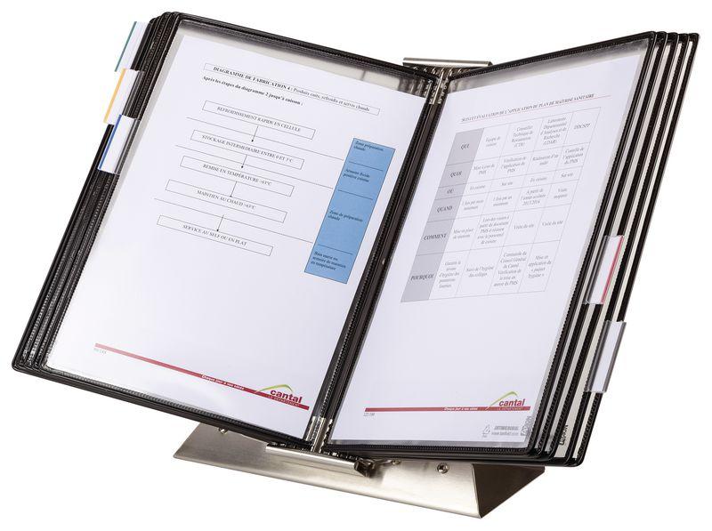 Antimicrobiële documentdisplay van inox op standaard met 10 hoezen